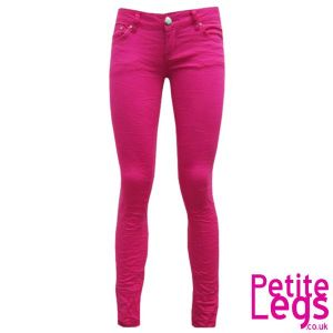 Avril Crinkle Skinny Jeans in Hot Pink | UK Size 8 | Petite Leg Inseam 27 inches
